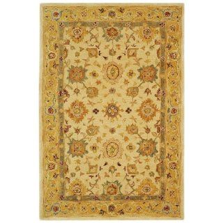 Safavieh AN546B Anatolia Collection 4 Feet by 6 Feet Handmade Hand Spun Wool Area Rug, Ivory and Gold
