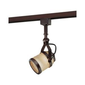 Hampton Bay Linear Track Head Oil Rubbed Bronze with Chiseled Glass Shade EC0108OBR