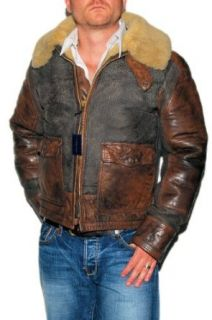 Polo Ralph Lauren Mens Leather Shearling Fur Jacket Coat Brown Small at  Men�s Clothing store