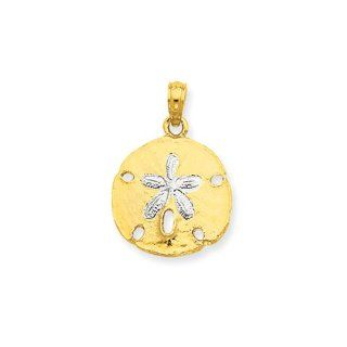 Two Tone Sand Dollar Pendant In 14 Karat Yellow Gold And Rhodium Jewelry