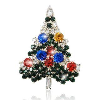Christmas Tree Gold Tone Flower Art Deco Brooch Multicolor Austrian Crystal A02355 8 Jewelry