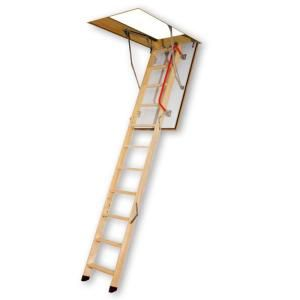 Fakro 30 in. x 54 in. x 10 ft. x 1 in. Fire Rated Wood Attic Ladder with 300 lb. Load Capacity Type IA Duty Rating 66832