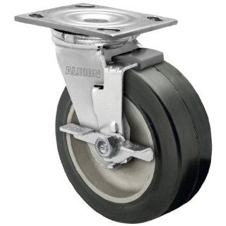 "Albion 16 Series 6"" Diameter Moldon Rubber on Aluminum Wheel Medium Heavy Duty Zinc Plate Swivel Caster with Face Brake, Roller Bearing, 4 1/2"" Length X 4"" Width Plate, 550 lbs Capacity (Pack of 4)"