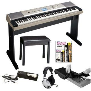 Yamaha YPG 535 88 key Portable Grand Graded Action USB Keyboard with Matching Stand and Sustain Pedal + Yamaha Padded Piano Bench, Stereo Headphones, Keyboard Dust Cover and Alfred's Teach Yourself to Play Piano   Book & DVD Musical Instruments