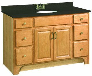 Design House 530410 Richland 2 Door/4 Drawer Ready To Assemble Vanity, Nutmeg Oak, 48 Inch by 21 Inch