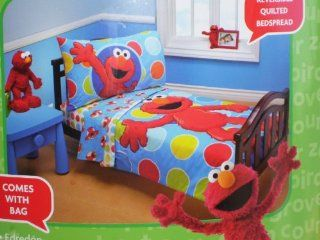 Sesame Street Elmo 4 Piece Toddler Bed Set  Baby