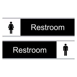Restroom White on Black Engraved Sign EGRE 546 SLIDE WHTonBLK  Business And Store Signs