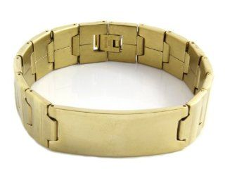 Men's Heavy Gold Plated Engravable ID Solid Stainless Steel Chain Link Bracelet 8 Inches GSTB 546 Jewelry