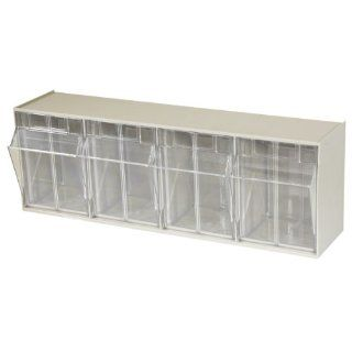 Akro Mils 06704 TiltView Horizontal Plastic Storage System with Four Tilt Out Bins , 23 5/8 Inch Wide by 8 3/16 Inch High by 6 3/4 Inch Deep, Stone