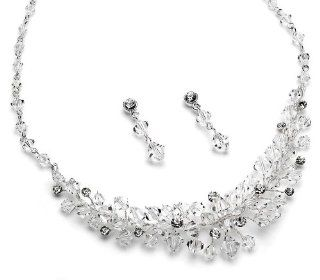 USABride Crystal Cluster Jewelry Set, Necklace & Earrings 565 Jewelry
