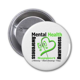 Mental Health Awareness Heart Butterfly Ribbon Pins