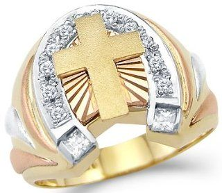 14k Yellow n Rose Gold Mens Large Cross Horse Shoe Ring Jewelry
