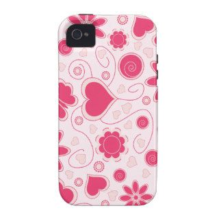 Retro Cute Red & Pink Love Floral iPhone 4 Case