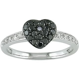 Miadora 10k Gold Black and White Diamond Pave Heart Ring Miadora Diamond Rings