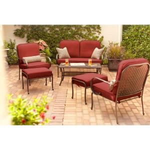 Hampton Bay Fall River 4 Piece Patio Seating Set with Dragon Fruit Cushions DY11034 4 R