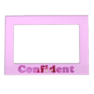 Confident Word Pink Flowers Magnetic Photo Frames