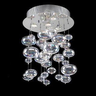 "Bubbles Design 4 Light 20"" Polished Chrome Ceiling Mount Chandelier Pendant with Rainbow Clear Glass SKU# 42703"
