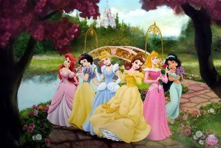 "WM 574 Disney Princess Collection Kid Girl Cartoon Wall Decoration Movie Poster Size 35""x23.5"" Sports & Outdoors"