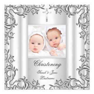 Twin Baby Girl Boy Christening Baptism White Announcements