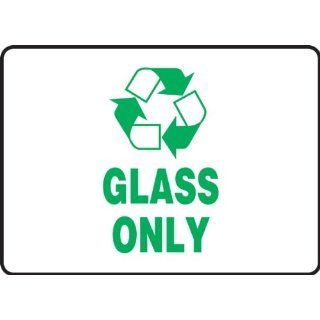 "Accuform Signs MPLR560VS Adhesive Vinyl Safety Sign, Legend ""GLASS ONLY"" with Graphic, 7"" Width x 10"" Height, Green on White Industrial Safety Rope Barriers"
