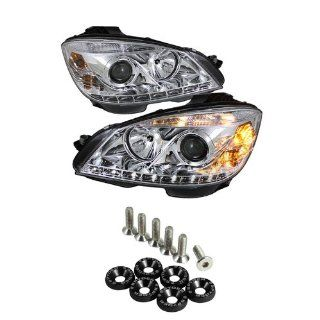 Mercedes Benz W204 C Class DRL LED Projector Headlights   Chrome & Spyder Washer 6pcs   Black Automotive