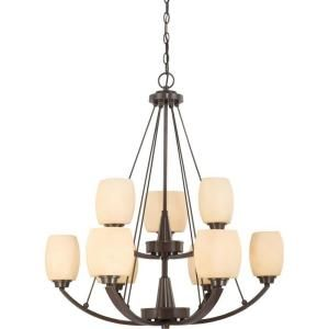 Glomar 9 Light Vintage Bronze Two Tier Chandelier with Cream Beige Glass Shade HD 4209