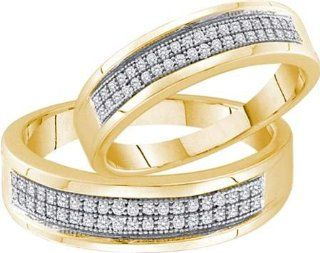0.25 Carat (ctw) 10k Yellow Gold Round Diamond Ladies Bridal Anniversary Wedding Band Duo Set 1/4 CT Jewelry