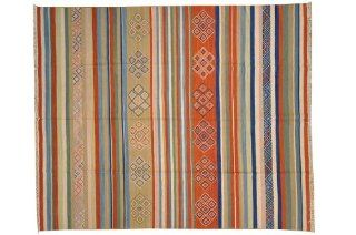 Striped Anatolian Kilim Flat Weave 100% Wool Hand Woven 8' X 10' Oriental Rug Sh6941   Hand Knotted Rugs