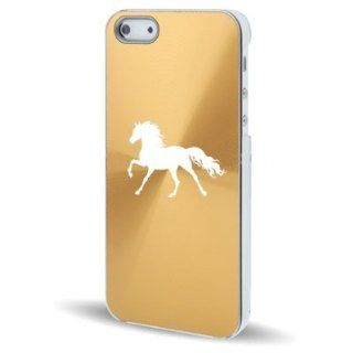 Apple iPhone 5 5S Gold 5C582 Aluminum Plated Hard Back Case Cover Horse Cell Phones & Accessories