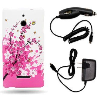 CoverON� Huawei W1 Hard Plastic Slim Case Bundle with Black Micro USB Home Charger & Car Charger   Spring Flower Cell Phones & Accessories