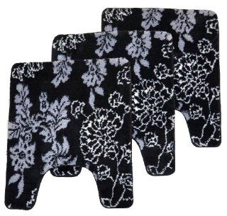"Floral Black 3pc Set Contour Memory Foam Bathroom Mat, size 24""x 20"" Non slip Rug   Bath Rugs"
