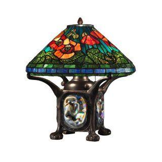 Dale Tiffany TT12329 Poppy Table Lamp with Night Light, Dark Antique Bronze