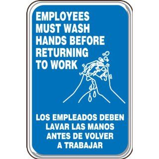 "Accuform Signs SBPAR590 Deco Shield Acrylic Plastic Spanish Bilingual Architectural Style Sign, Legend ""EMPLOYEES MUST WASH HANDS BEFORE RETURNING TO WORK"" with Graphic, 6"" Width x 9"" Length x 0.135"" Thickness, White on Blue Indus"