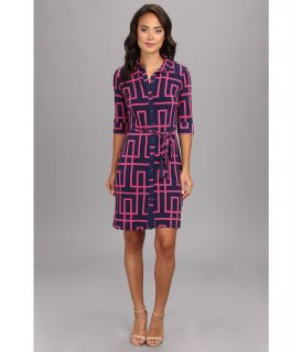 Maggy London Elbow Sleeve Puzzle Geo Shirt Dress Womens Dress (Navy)