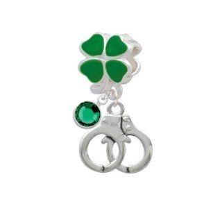 Lucky Silver Handcuffs Green Four Leaf Clover European Charm Bead Hanger with Emerald Crystal Drop Delight Jewelry Jewelry