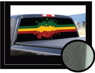 "RASTA FLAG�16"" x 54""   Rear Window Graphic   back compact pickup truck decal suv view thru vinyl Automotive"