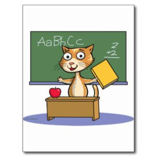 Cat Teacher Post Card