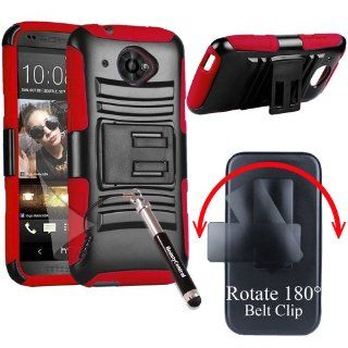 3 in 1 Bundle HTC Desire 601 ZARA (Virgin Mobile) Shell Heavy Duty Combo Holster Case with Viewing Stand & Belt Clip   Red/Black (Package include Premium Screen Protector + Ultra Sensitive Stylus Pen by BeautyCentral) Cell Phones & Accessories