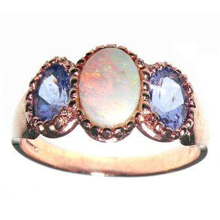 Luxury 9K Rose Gold Ladies Fiery Opal & Tanzanite Ring   Finger Sizes 5 to 12 Available Jewelry