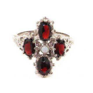 14K Solid English White Gold Ladies Fiery Opal & Garnet Ring   Finger Sizes 5 to 12 Available   Ideal for Special Birthday, Anniversary, Valentines Day or Mothers Day Gift Jewelry