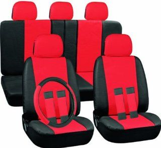Oxgord 17pc Set PU Leather / Red & Black Auto Seat Covers Set   Airbag Compatible   Front Low Back Buckets   50/50 or 60/40 Rear Split Bench   5 Head Rests   Universal Fit for Car, Truck, Suv, or Van   FREE Steering Wheel Cover Automotive