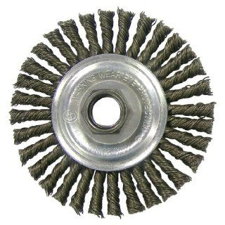 Weiler Carbon Steel Wheel Brush   0.02 in Bristle Dia Arbor Attachment   4 in OD & 20000 Max RPM   36218 [PRICE is per EACH] Short Handle Brooms