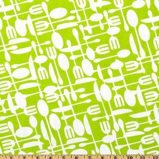 Timeless Treasures Fun Utensils Lime Fabric By The YD