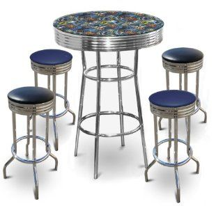 Batman Themed 5 Piece Bar Table Set Glass Top Table with 2 Blue Vinyl & 2 Black Vinyl Swivel Seat Bar Stools   Home Bars
