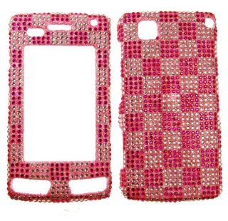 IMAGITOUCH(TM) LG Incite CT810 Full Diamond Rhinestone Snap on Hard Protector Case Cover Faceplate   Hot Pink Silver Checker Cell Phones & Accessories