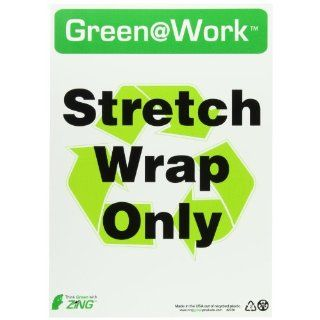 "Zing Environmental Awareness Sign, Header ""Green at Work"", ""Stretch Wrap Only"" with Recycle Symbol, 10"" Width x 14"" Length, Recycled Plastic, Black/White/Green (Pack of 1) Industrial Warning Signs"