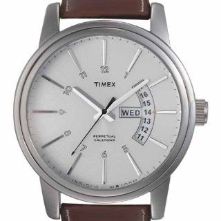 Timex Men's T2K621 Premium Collection Perpetual Calendar Brown Leathe Strap Watch Watches