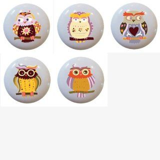 Set of 5 Owl Whimsical Ceramic Knobs Pull Kitchen Drawer Cabinet Closet Bar 629   Cabinet And Furniture Knobs