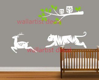 Running Fawn and Tiger Tree Branch with Owls Leaf Home House Art Decals Wall Sticker Vinyl Wall Decal Stickers Baby Livng Bed Room 629