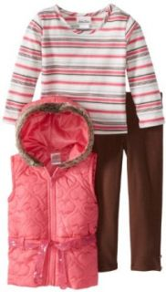 Little Lass Girls 2 6X 3 Piece Hooded Quilted Heart Puffy Vest Set Clothing